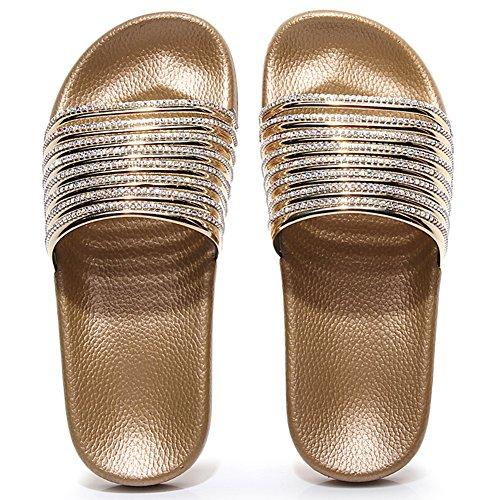 Pantoletten Damen Badeschlappen Flach Badelatschen Weich Strand Sandalen Dusch Schuhe