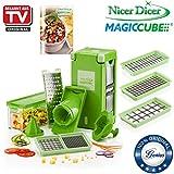 Genius Nicer Dicer Magic Cube | 16 Teile | Obstschneider | Zwiebelschneider | Gemüseschneider | Allesschneider | Gemüsehobel | Bekannt aus TV | NEU