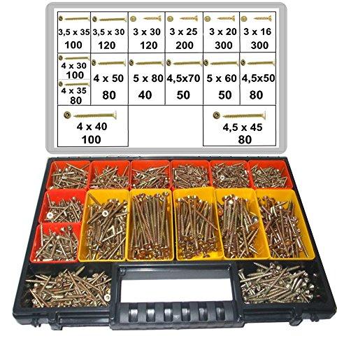 1800 tlg. Schraubensortiment, Torx Antrieb, 3,0 x 16 -- 5,0 x 80, Spanplattenschrauben im Koffer, herausnehmbare Boxen