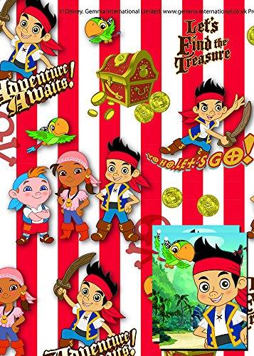 Disney Jake und die Nimmerland Piraten 2x Blatt Geschenkpapier und 2x ()
