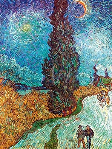 Artland Poster oder Leinwand-Bild fertig aufgespannt auf Keilrahmen mit Motiv Vincent van Gogh Landstraße mit Zypressen, 1890 Landschaften Wiesen & Bäume Malerei Grün C2YS