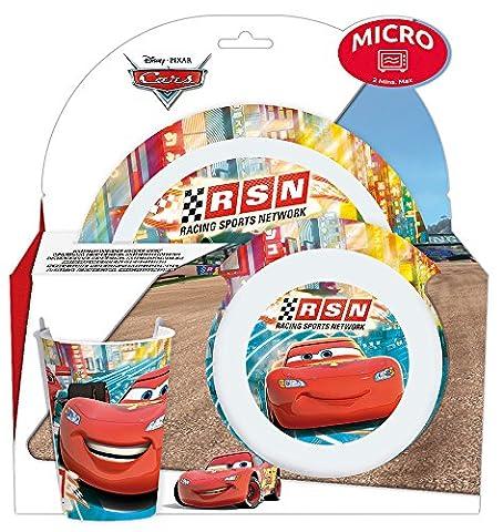 Fun House Art de la Table 005289 Cars Ensemble Assiette/Bol/Verre Rouge