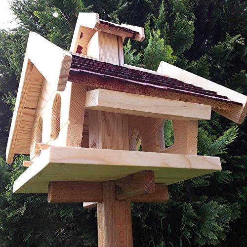 Vogelhaus-XL D Braun- Vogelhäuser-Vogelfutterhaus Vogelhäuschen-aus Holz Wetterschutz Putzklappe - 4