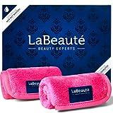 LaBeaute Panno struccante microfibra - Struccante occhi e pulizia viso - Stuccante viso makeup - Lavabile e riutilizzabile - 21x21 cm - 2 pezzi - Rosa