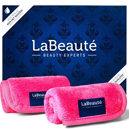 LaBeauté Abschminktücher Mikrofaser (2 Stück), waschbar und wiederverwendbar, Gesichtsreinigungstücher, Make Up Entferner Tuch (21x21 cm, Pink)