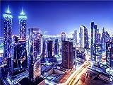 A.Monamour 200X150Cm Tela De Vinilo Impreso Digital Vista Nocturna De La Ciudad De Dubai Fondos De Fotografía De Tema para Los Accesorios De Vídeo Estudio De Fotografía
