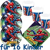 53-teiliges Partyset * SPIDER-MAN 2018 * mit 16 Teller + 16 Becher + 20 Servietten + Deko // Team Up // Kindergeburtstag Set Partygeschirr Kinder Geburtstag Party Mottoparty Luftballons Superhelden