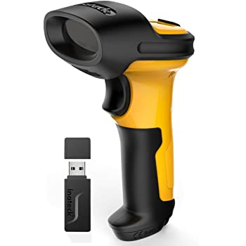 Inateck 2,4 GHz USB Barcode Scanner,Lecteur Code Barre sans Fil,Douchette USB Laser Code Barre Scanner, Batterie 2600mAh, Scan automatique rapide et précise et la plage du scan 60m,NOIR P6