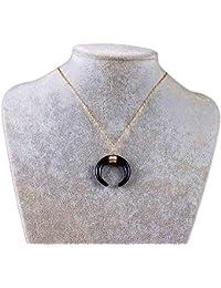 369133464384 1pc Media Luna Collares Colgante de Marfil Doble Cuerno de Collar Colgante  Luna (Negro)
