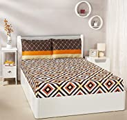 Amazon Brand - Solimo Diamond Dreams 144 TC 100% Cotton Double Bedsheet with 2 Complimentary Pillow Covers - B