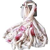 LumiSyne Sciarpa Di Seta Donna Fiore Stampato Moda Ed Elegante Stile Scialle Lungo e Morbido Foulard Calda Stole Protezione S