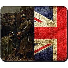 Royal Army Ww1Première Guerre Mondiale Angleterre soldat Great Britain bataille Attaque image peinture Position Drapeau tranchée–Tapis de souris Ordinateur PC Portable # 9538
