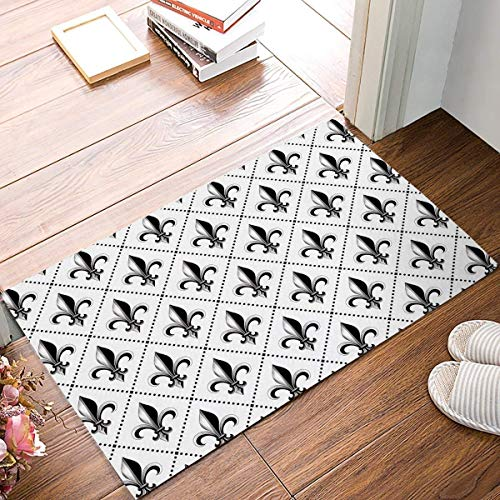 EJjheadband Doormat French Lily Iris Pattern Printed Entrance Floor Rug Bathroom Rubber Non Slip -