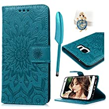 For Samsung Galaxy S7 Edge Coque Bookstyle Étui Housse Imprimé en PU Cuir Case à rabat Coque de protection Portefeuille TPU Silicone Case pour Galaxy S7 Edge - Bleu