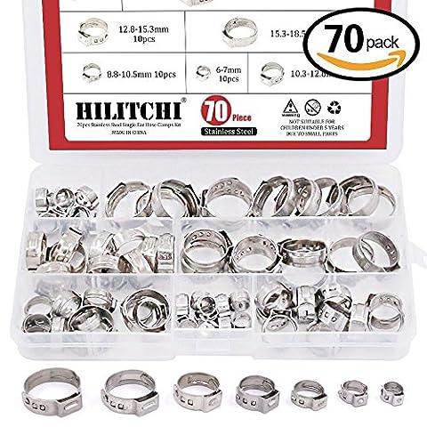 Hilitchi 70pcs Kit oreille simple Colliers de serrage en acier inoxydable
