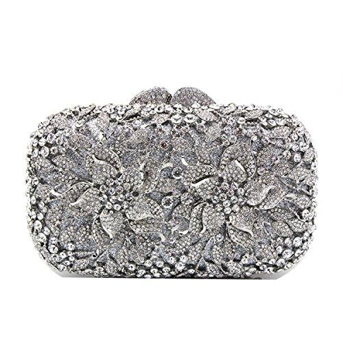 Hollow Diamante Borsa Da Viaggio Manico Borsa Da Sera Femmina Banchetto Mini Borsa Quadrata Piccola Borsa A Mano Silver