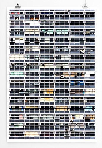 Eau Zone Home Bild - City - Hochhausfassade mit Klimaanlagen- Poster Fotodruck in höchster Qualität (Zone Klimaanlage)