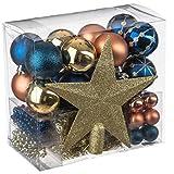 Conjunto de navidad. Juego 44 piezas para decoración árbol: Guirnaldas, Bolas y Estrella - tema color: azul, oro y cobre