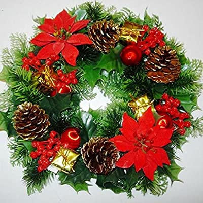 "GARTHWAITE NURSERIES® : - 12"" Christmas Wreath Decoration/Door Artificial Xmas Red/Poinsettias/Holly Cone"
