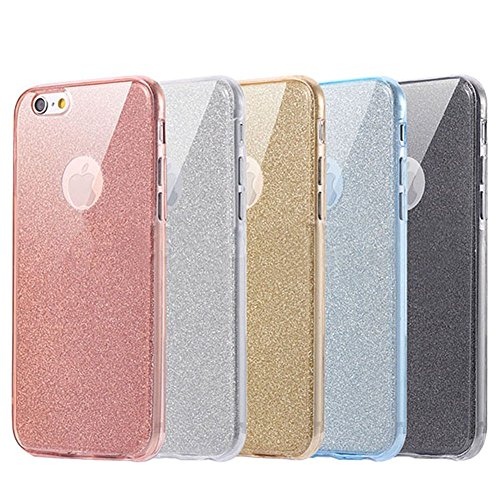 TPU Coque pour iPhone 8/7 Plus,Luxury Case for iPhone 8/7 Plus,Hpory Beau élégant Luxury Ultra Thin Transparent Soft TPU Gel Silicone Cristal Clair Bling Brillant Glitter Loveheart Motif Etui Housse d Glitter,Argent