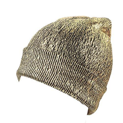 Cooljun Mütze Damen Mädchen Strickmütze Beanie Cap Frauen Hut warme Ohrenschutz häkeln Winter Stricken Glitzernden Caps (Gold)