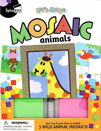 SpiceBox SP22195 Lets Make It Mosaic Animals Craft Kit