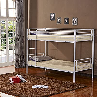 3ft Single Metal Frame Bunk Bed for Kids Twin Sleeper (White bed frame only) - inexpensive UK light shop.