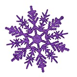 Schneeflocke Ornamente, 24pcs Schneeflocke Weihnachtsbaum Dekoration 10cm Plastikglitter Schnee Flocke Verzierungen Feiertags Festival Partei Ausgangsdekor (Lila)