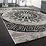 Paco Home Carpet With Classic Pattern Circle Ornaments In A Mixture Of Grey And Black Sale, Size:120x170 cm