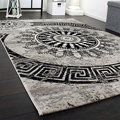 Paco home tappeto classico lavorato cerchio ornamenti grigio nero screziato svendita, dimensione:240x340 cm