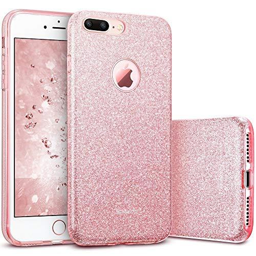 ESR Coque pour iPhone 7 Plus Or Rose, Coque Silicone Paillette Strass Brillante Bling Bling Glitter de Luxe, Housse Etui de Protection pour iPhone 7 Plus 5,5 pouces (Série Glamour, Or Rose...