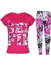 A2Z 4 Kinder® Kinder Mädchen Top LOVE Aufdruck T-Shirt & Splash Aufdruck Mode Legging Satz Neu Alter 7 8 9 10 11 12 13 Jahre