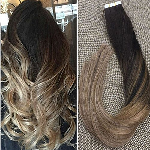 Hair Extension Brown Light Ombre (Ugeat 50g 20pcs Tape in Extensions Echthaar Balayage Color Off Black mit Light Brown Und Ash Brown 18