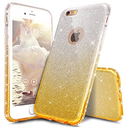 iPhone 6S Hülle,iPhone 6 Hülle,iPhone 6 / 6S TPU Silikon Hülle,ikasus® Handy-Hülle Weich TPU Silikon Handy Hülle Case Tasche Schutz für Apple iPhone 6 / 6S (4,7 Zoll) Silikon Hülle Color Gradient Luxu Gold