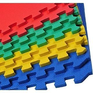Schaumstoff-Fliesen, mehrfarbig, zusammensteckbar, ideal als Yoga- und Gymnastikmatte, Spielfläche, Bodenschutz, Bodenbelag fürs Spielzimmer, Fliesengröße: 60cm x 60cm