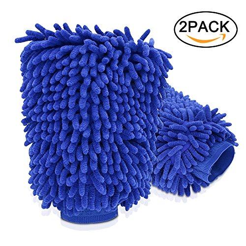 Microfibra De Coche NAKEEY Chenille limpieza del coche Mitt cepillo Guante,Guante Microfibra de Limpieza Lavado para Coche 2 En 1 (Azul)