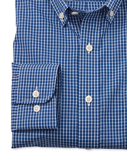 Savile Row Men's Blue White Poplin Check Slim Fit Casual Shirt Blue White