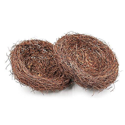 Aoory, nido di uccelli in rattan naturale, decorazione intrecciata, ornamento per giardino di pasqua, 6 cm, 4 pezzi 20cm