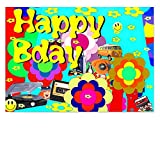 DigitalOase Glückwunschkarte HAPPY BIRTHDAY Gratulationskarte Grußkarte Format DIN A4 A3 Klappkarte PanoramaUmschlag #70er
