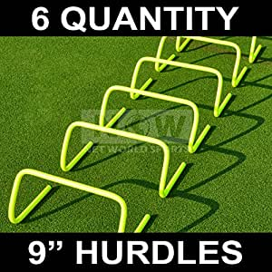 Agility Hurdles (Set of 6) (6in, 9in or 12in) - Multi-Sport Speed Training Aid [Net World Sports] (9 inch Hurdles (pack of 6))