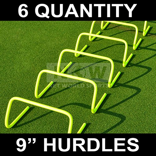 Net World Sports Agility Hurdles (Set of 6) (6in, 9in or 12in) - Multi-Sport Speed Training Aid [Net World Sports] (9`` Hurdles (pack of 6))
