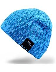 Bluetooth Beanie-Hut, Rotibox Unisex Erwachsene Trendy Soft Warm Audio Musik Skull Cap mit Wireless Kopfhörer Headset Lautsprecher Mic Freisprecheinrichtung, Weihnachts-Geschenk für Winter Outdoor Sport Skifahren Snowboard - Blau