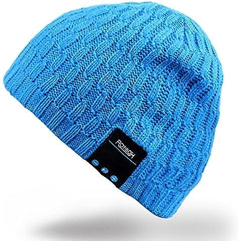 Bluetooth Beanie Hat, Rotibox Unisex Adulto Trendy Soft Warm Música Audio Skully Cap con Auriculares Inalámbricos Micrófono con Micrófono manos libres, regalo de Navidad para el invierno Deportes al aire libre Esquí Snowboard -