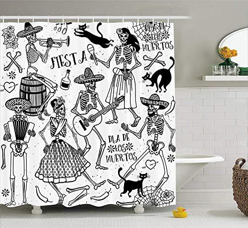 ewtretr Mexikanische Dekorationen Duschvorhang, Tote Dancers Themed Frau und Mann Skelett Icon, spielt Musik Design, 60 W x 183 L Zoll lang, Schwarz/Weiß - 78-zoll-gardinenstange