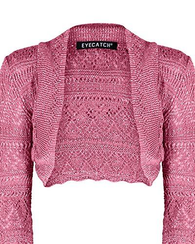 EyeCatch - Lurex Lilly Glitz Dames Au Crochet Tricoté Haussement DÉpaules Taille Unique Corail