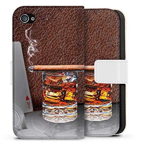 Apple iPhone X Silikon Hülle Case Schutzhülle Zigarre Whiskey Karten Sideflip Tasche weiß