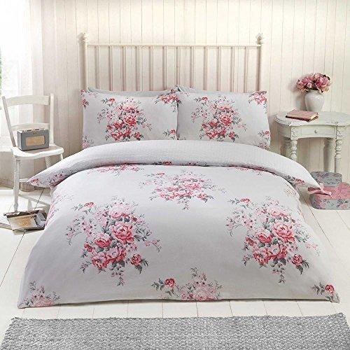 Blumenmuster Rosen Blumen Gepunktet Grau Baumwollgemisch Doppel (uni silbergrau passendes Leintuch - 137 x 191cm + 25) 4-tlg. Bettwäsche Set