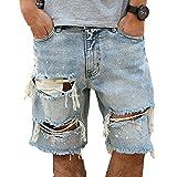 Herren Vintage Distressed Denim Shorts, Löcher zerrissen Wäschen Jeans Shorts lose gerade Fit Shorts
