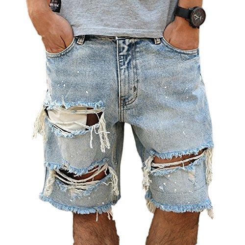 Keephen pantaloncini in denim vintage effetto invecchiato, bucati strappati, pantaloncini jeans, pantaloncini larghi e dritti