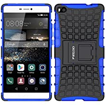 Funda Huawei P8,Pegoo El Soporte Incorporado A Prueba de golpes Anti-Arañazos y Polvo Mezcla Doble Capa Armadura Proteccion Cover Case Caso Funda Cáscara Caja para Huawei P8 (Azul)